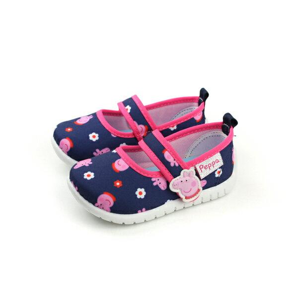 粉紅豬小妹 Peppa Pig 娃娃鞋 休閒鞋 印花 好穿 童鞋 藍色 桃紅滾邊 中童 P