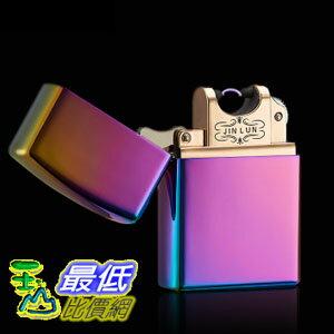 [玉山最低比價網] JINLUN 電弧打火機 USB充電打火機 電磁脈衝電弧 電子點煙器 防風 (顏色隨機)( K05)