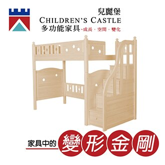 兒麗堡 - 新款上市【梯櫃架高床(基礎款)】 兒童床 兒童家具 多功能家具 芬蘭松實木 雙層床 架高床 - 限時優惠好康折扣