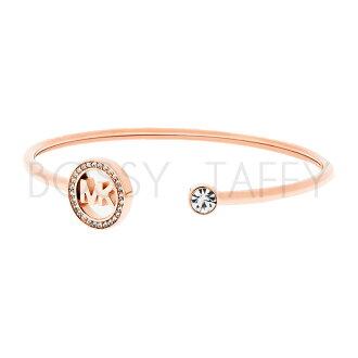 MICHAEL KORS 經典LOGO玫瑰金鑲鑽袖扣手環 MK Fulton Pavé Rose Gold-Tone Logo Cuff