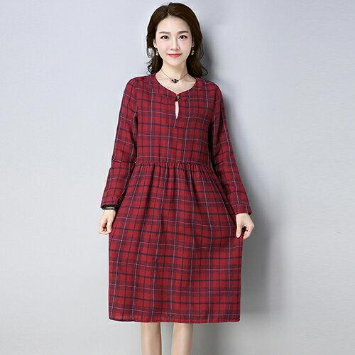 磨毛款格子連身裙(2色M~2XL)*ORead* 0