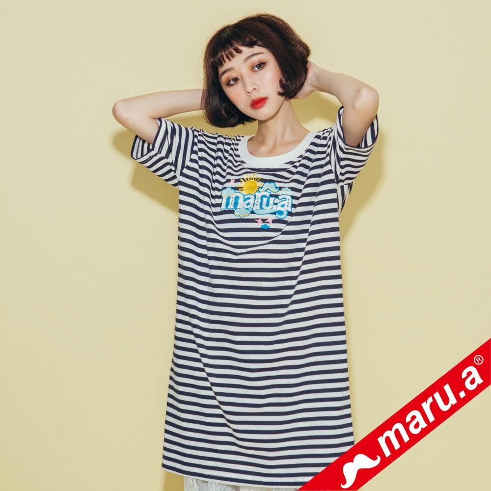 【maru.a】條紋長版蕾絲兩件式洋裝(2色)8317112 1