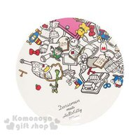 小叮噹週邊商品推薦〔小禮堂〕KittyX哆啦A夢 美耐皿盤《白.LOGO.道具滿版.20cm》