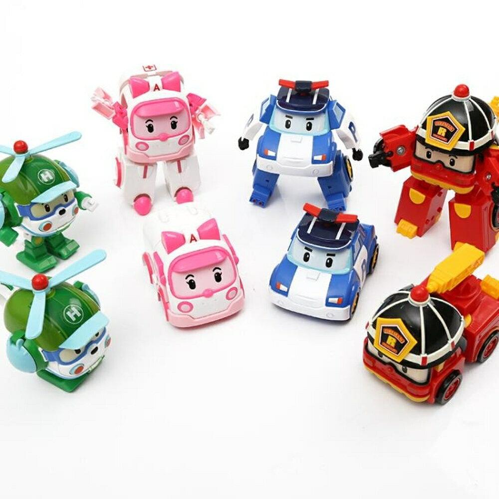 兒童波利警車機器人羅伊消防變形車星珀利警長救援隊套裝玩具男孩 2