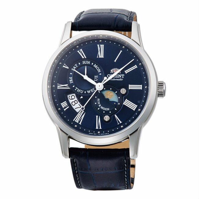 Orient 東方錶 SAK00005D(SUN&MOON系列)新日月相錶機械腕錶 / 藍面43mm - 限時優惠好康折扣