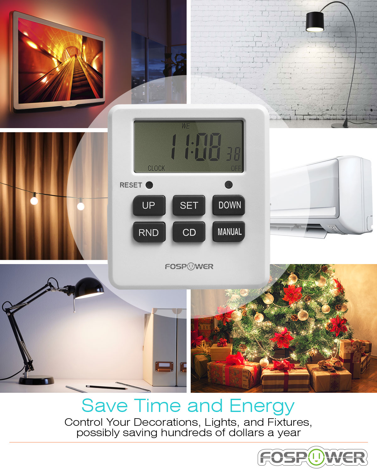 Selective Timer Alarm Sf Planet Fospower 7 Day Digital Outlet With Two Us Socket Outlets Etl Listed 125v