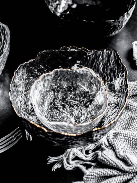 沙拉碗日式金邊玻璃碗蔬菜沙拉碗水果盤撈透明大號網紅家用耐熱甜品北歐