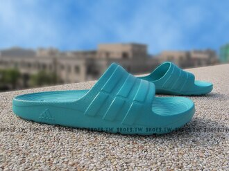 Shoestw【S77990】ADIDAS DURAMO SLIDE 拖鞋 一體成型 湖水綠 男女都有