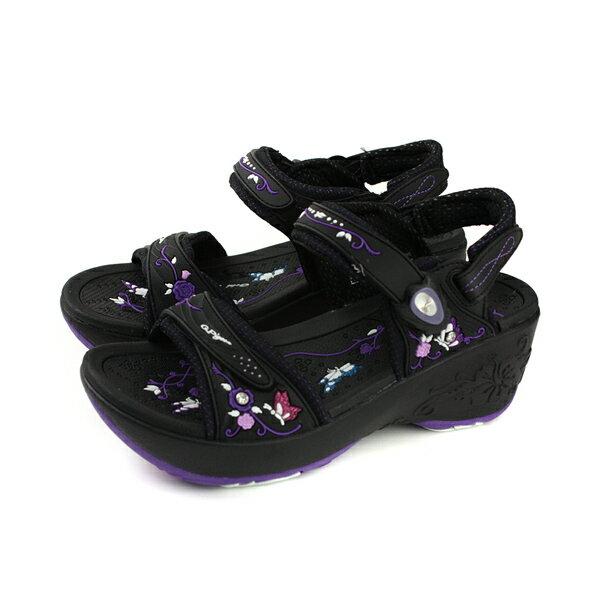 GP (Gold.Pigon) 阿亮代言 涼鞋 女鞋 防水 雨天 厚底 黑/紫 G8698W-41 no918