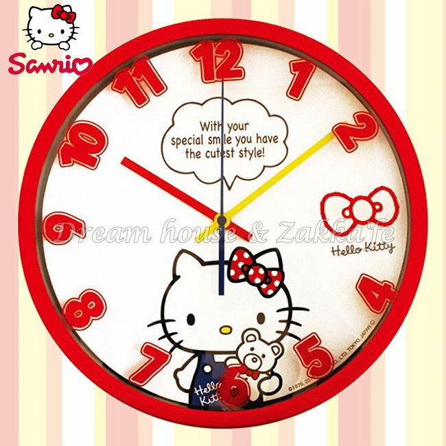 日本正版 三麗鷗 Sanrio Hello Kitty 凱蒂貓 掛鐘/時鐘《 靜音無聲連續機芯 》★ 簡單時尚可愛 ★ 夢想家精品家飾