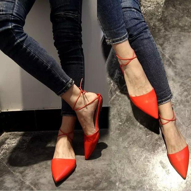 新款歐美尖頭黑色紅色平底女涼鞋綁帶性感纖細感顯瘦韓國涼拖休閒半拖鞋簡約高雅