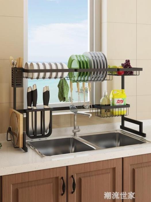 黑色不銹鋼水槽架晾碗碟架瀝水廚房置物架用品收納水池放碗架碗櫃 - 限時優惠好康折扣