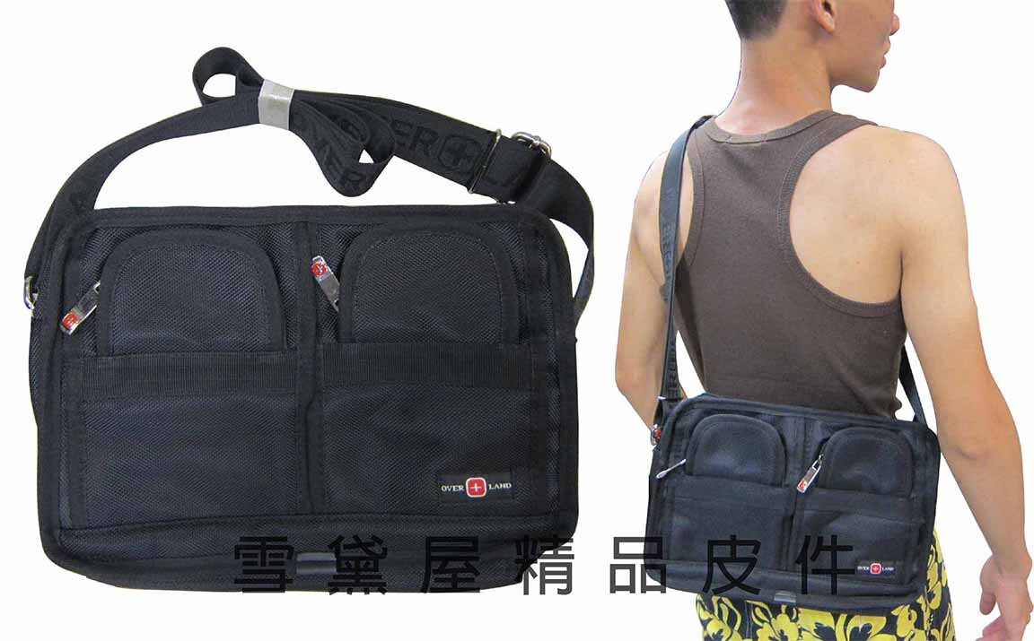 ^~雪黛屋^~OVER~LAND 肩側包二層拉鍊式主袋口多外袋 隨身物品肩背可斜側背防水尼