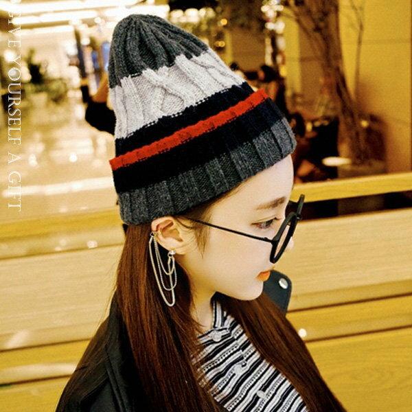 冬季保暖拚色尖筒毛帽【櫻桃飾品】【21582】