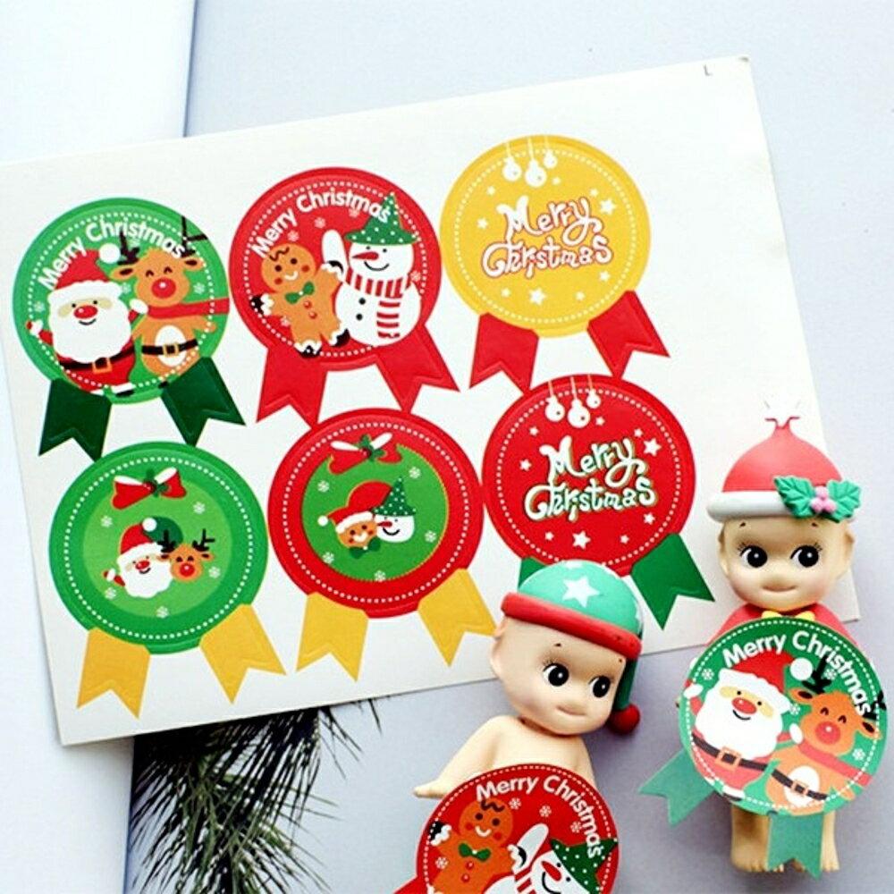 BLUECAT 聖誕節白色點點圓圈邊雪人薑餅人獎狀徽章標籤裝飾貼紙 (6枚入)【BlueCat】【XM0091】