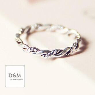 D&M純銀戒指 順藤而上 繩索纏繞造型戒尾戒【A00033】
