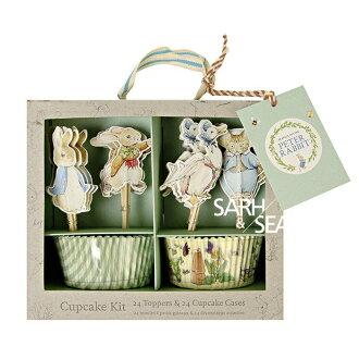 =優生活=小清新彼得兔 兔子BABY花園粉色兔寶寶 防油蛋糕紙杯 裝飾插籤 插牌組合套裝盒 蛋糕裝飾 24入