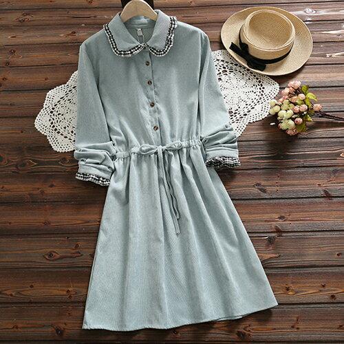 *ORead*森女風燈芯絨繫帶收腰連身裙(2色S~2XL) 0