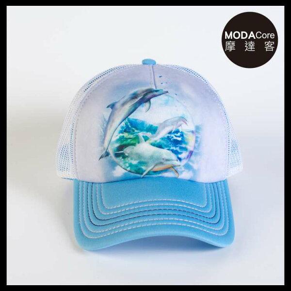 【摩達客】(預購)美國進口TheMountain海豚水晶球藝術棒球帽網帽5-Panel新五分割帽