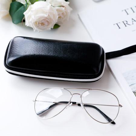 方形皮質眼鏡盒收納盒萬用盒拉鍊眼鏡墨鏡太陽眼鏡時尚【B063132】