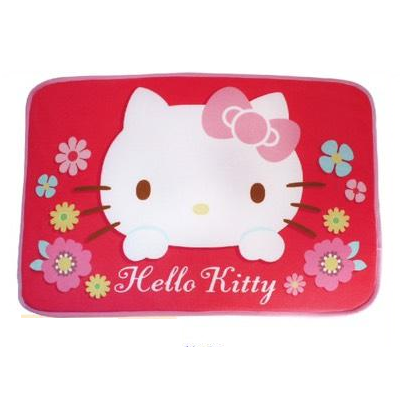 【真愛日本】17101400006 地墊-KT繽紛絨毛紅 三麗鷗 kitty 凱蒂貓 吸水地墊 地毯 腳踏墊