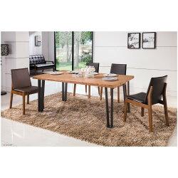 【簡單家具】,H438-1 漢斯6尺自然邊全實木面黑腳餐桌(另售餐椅),大台北都會區免運費,組裝定位到好!