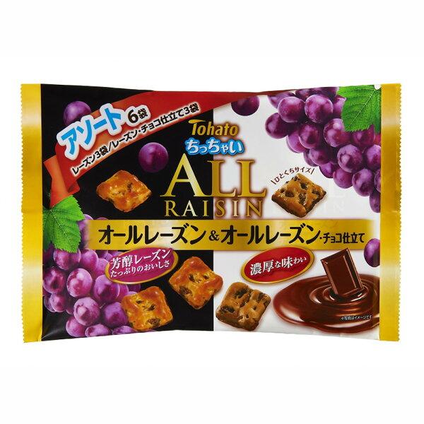 【Tohato東鳩】ALLRAISIN雙味葡萄乾酥餅-原味巧克力6袋入126gちっちゃいオールアソート日本進口零食