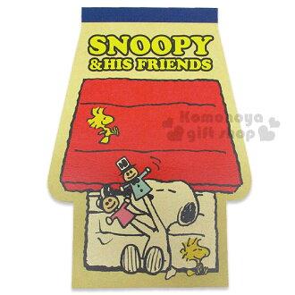 〔小禮堂〕史努比 日製造型便條本《黃.狗屋型.坐姿.紅狗屋.朋友.80枚》2種不同圖案花樣