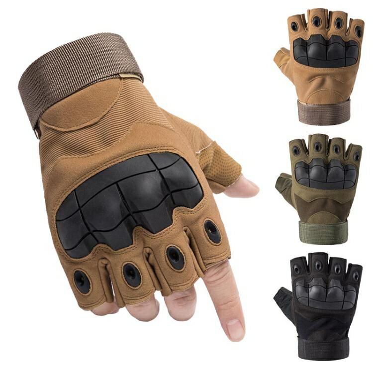 機車手套 戰術半指手套男女冬特種兵格斗戶外騎行機車摩托運動健身露指保暖