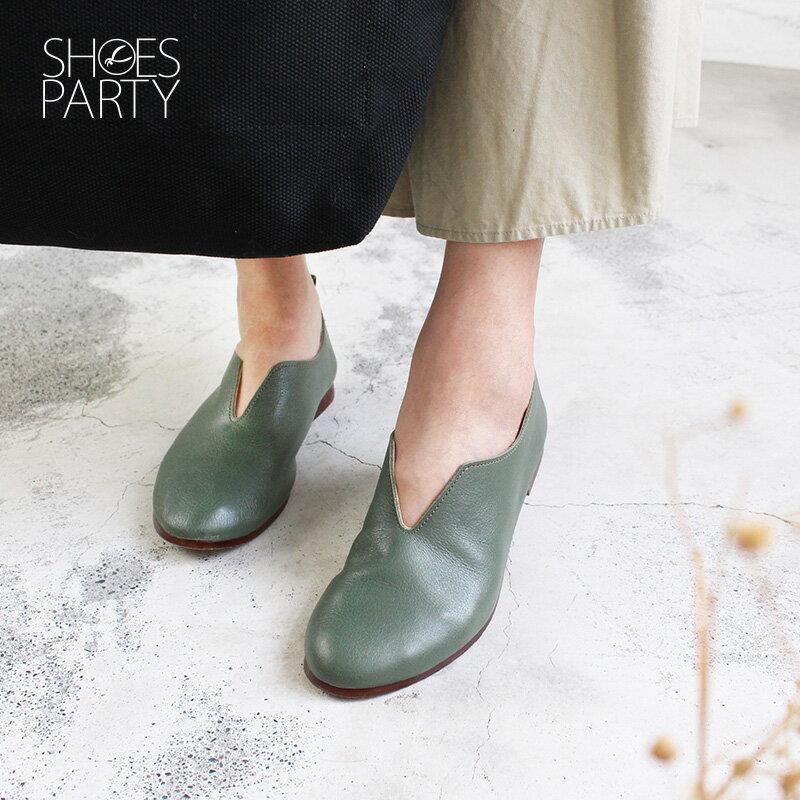預購【F2-18814L】長腿效果V口真皮便鞋-日本製_Shoes Party 2