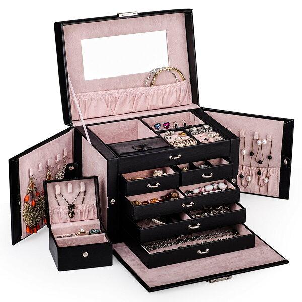 New Shining Image: Black Leather Jewelry Box Travel Case ...