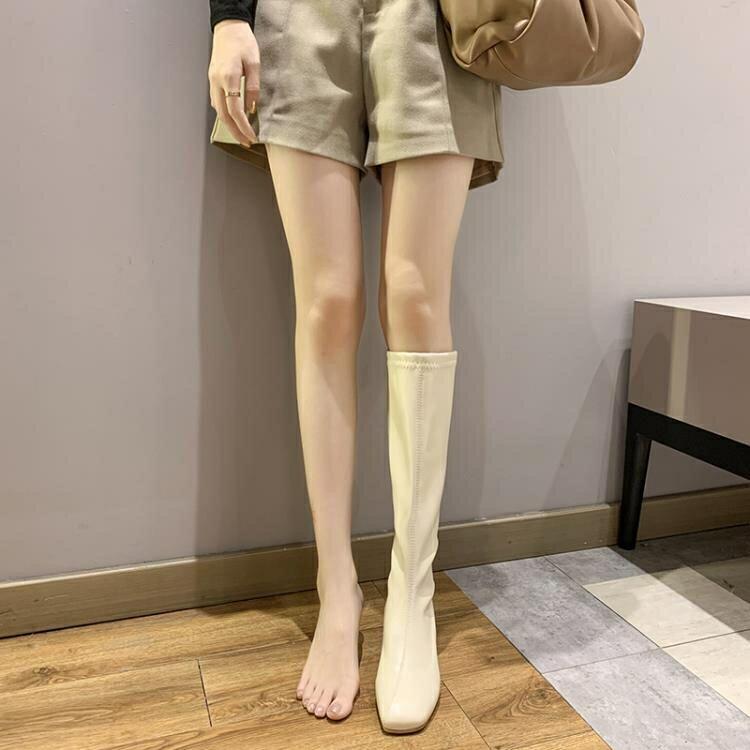 長靴女 高筒靴子女騎士靴2020秋季新款英倫風顯瘦高跟方頭粗跟不過膝長靴