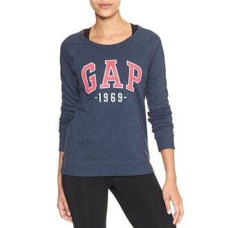 美國百分百【全新真品】GAP T恤 長T 長袖 T-shirt 大學T logo 女 XS號 藏藍 H923