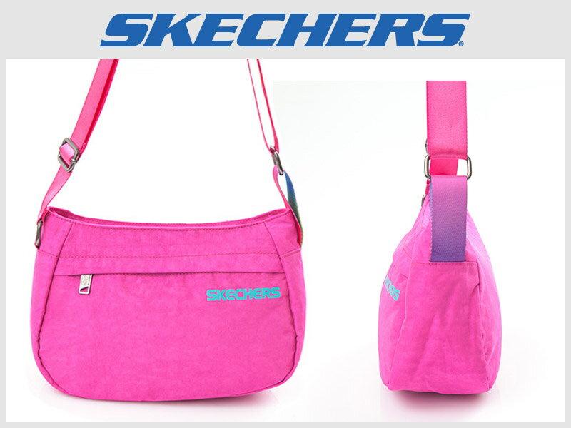 Shoestw【7610116】SKECHERS 側背包 輕量 螢光桃紫 多拉鍊層 多功能包 小側背包