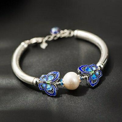 925純銀手鍊 珍珠手環 ~精緻優雅雙蝶 母親節情人節生日 女飾品73hm24~ ~~米蘭