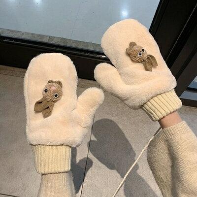 毛線手套 卡通女冬天學生加絨加厚保暖毛絨可愛萌兔子全指厚韓版日系潮