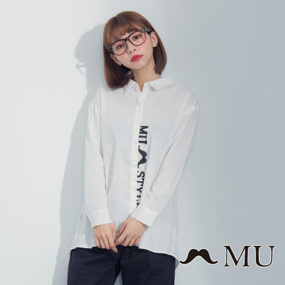 【MU】LOGO印花前短後長後開岔襯衫 8323163 1