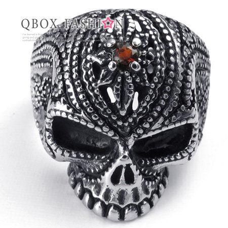 《QBOX》FASHION飾品【W10022469】精緻個性點線紋骷髏頭鑲鑽316L鈦鋼戒指戒環
