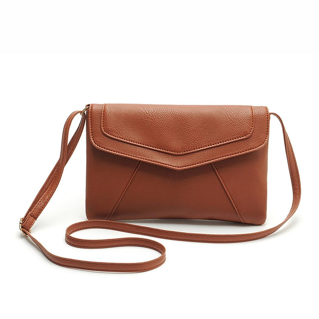 Ladies Leather Pure Color Hasp Closure Messenger shoulder Bag 3
