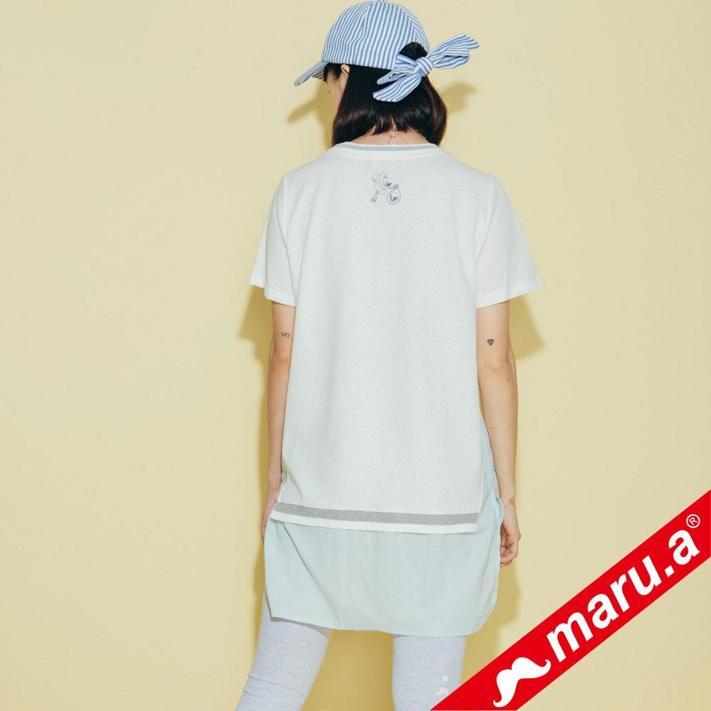 【maru.a】繽紛拼貼荷葉邊長版上衣(2色)8321315 2