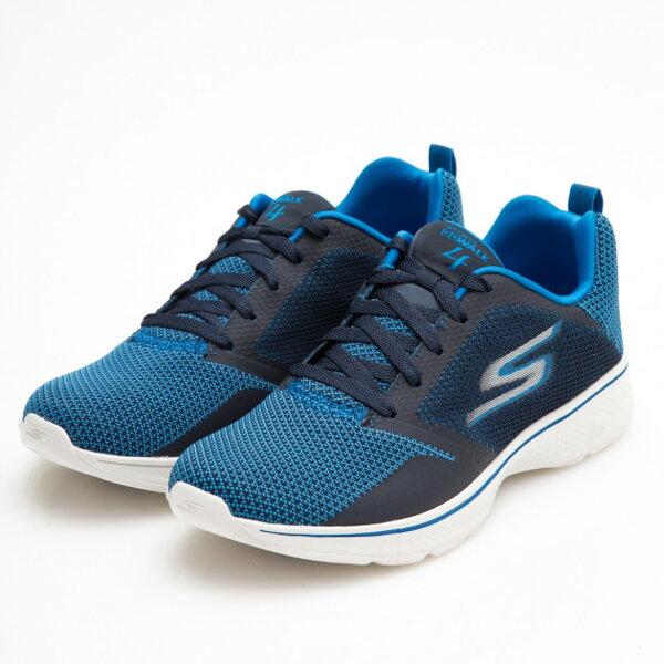 SKECHERSGOWALK4男鞋健走網布輕量彈性緩衝舒適透氣藍【運動世界】54680BLU