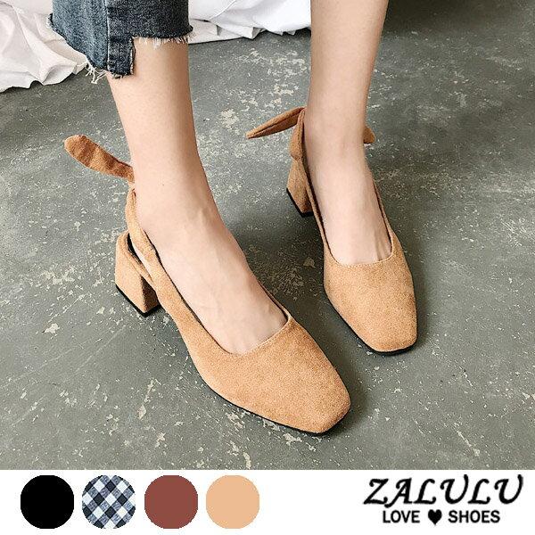 ZALULU愛鞋館7EE125預購美魔女蝴蝶結方頭中跟鞋-黑南瓜卡其格子-35-39