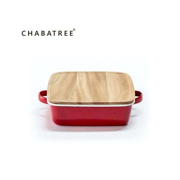 泰國Chabatree琺瑯雙把正方烤盤(紅)