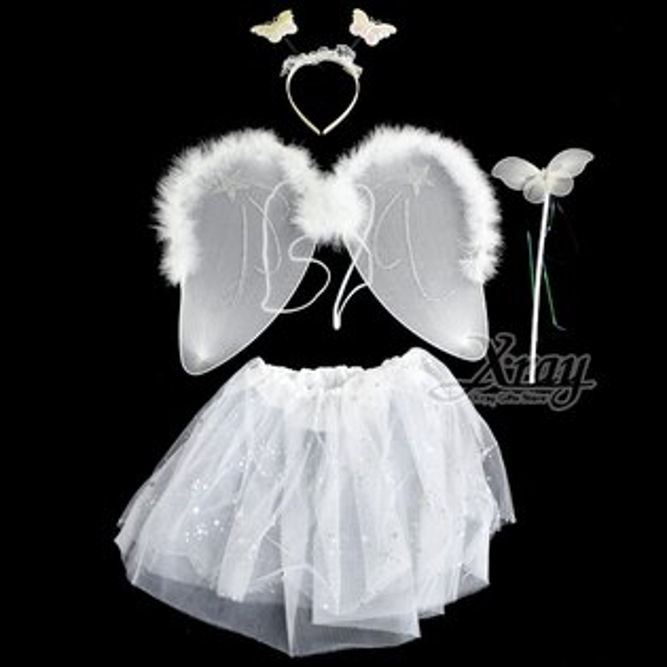 X射線【W243450】白天使紗裙(4件套),萬聖節服裝派對用品尾牙表演角色扮演蝴蝶翅膀