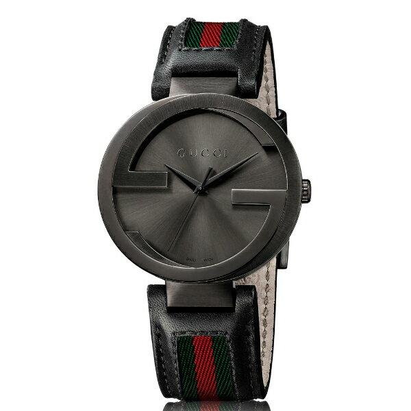 Gucci 古吉YA133206經典雙G義大利多彩時尚腕錶/咖啡面42mm