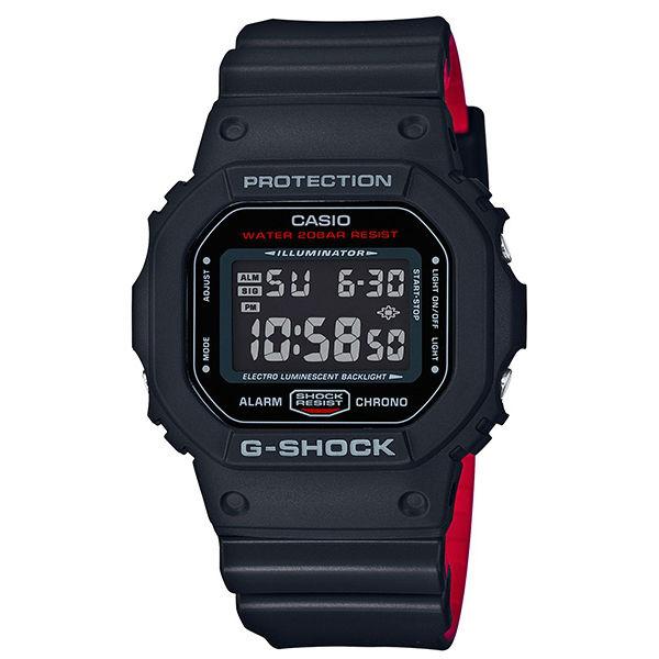 CASIO G-SHOCK DW-5600HR-1紅黑力量時尚數位腕錶/48.9 × 42.8mm