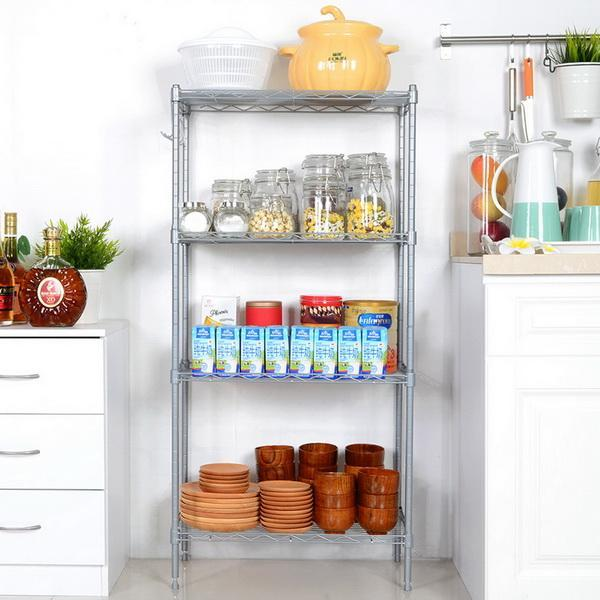Kitchen Wire Shelving 4-Shelf Storage Organizer Rack Adjustable Height with Side Hooks 2