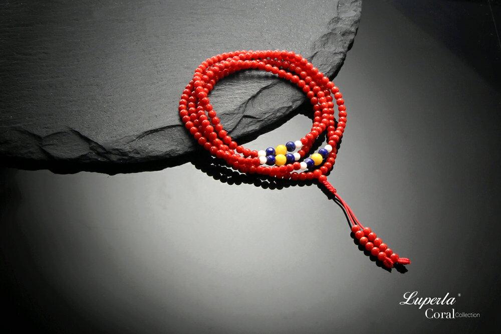 大東山珠寶 頂級天然全紅珊瑚 3mm  216顆 持珠念珠-青金石 硨磲 黃玉隨 4