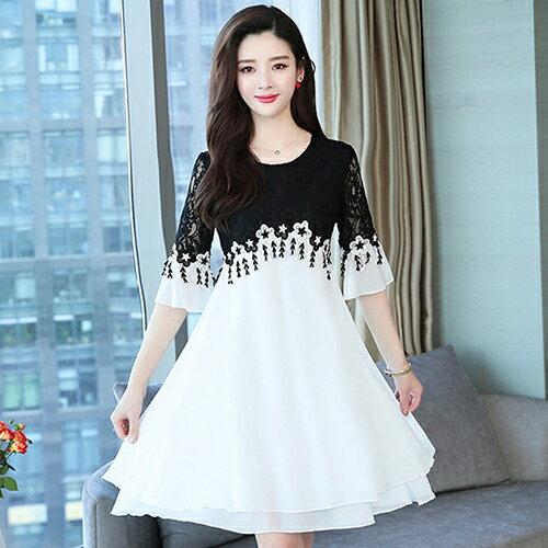 蕾絲拼接花邊黑白修身大擺連身裙(2色L~5XL)【OREAD】 1