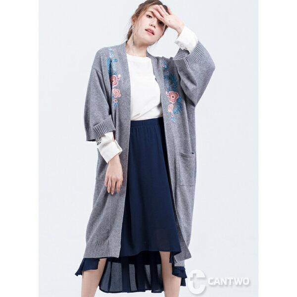 CANTWO:CANTWO日式和服刺繡長版罩衫(共二色)~追加到倉